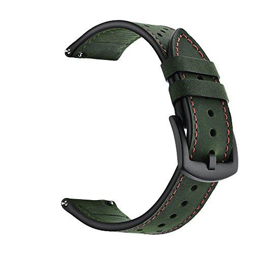 YBWZH Armbanduhr aus Lederarmband für Amazfit Stratos Smart Watch 2 / 2S Lederarmband Ersatzband(Army Grün)