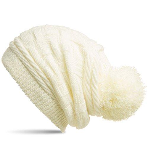 Caspar MU130 Damen Gefütterte Strick Long Beanie mit Zopfmuster und Wollbommel, Größe:One Size, Farbe:weiss (off-white) -