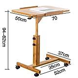 Zhuozi Fufu Laptop Tisch Laptop Tisch Sofa Nachttisch Betttisch Klapptisch höhenverstellbar Stabile Notebook Computer Ständer Schreibtisch mit Rollen, 50 x 70 cm