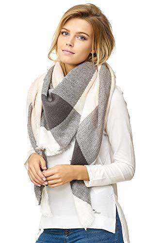 JillyMode XXL Damen Schal Winter Dick Warm und weich viele schöne Mustern (1001-2-Rosa/Dk.Grau) -
