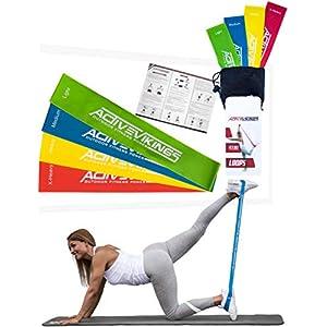 ActiveVikings Fitnessbänder Set 4-Stärken by Ideal für Muskelaufbau Physiotherapie Pilates Yoga Gymnastik und Crossfit | Fitnessband Gymnastikband Widerstandsbänder