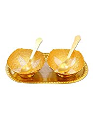 designer beautiful two tone two bowl set with two spoon