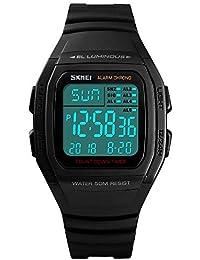 1d752bcee9d5 FeiWen Unisex Fashion Digitales Deportivo Relojes de Pulsera 50M  Impermeable Outdoor Militar LED Electrónica Doble Tiempo