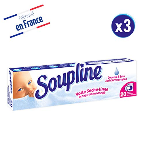 Soupline Voiles Sèche-Linge Douceur & Soin 20 Pièces - Lot de 3