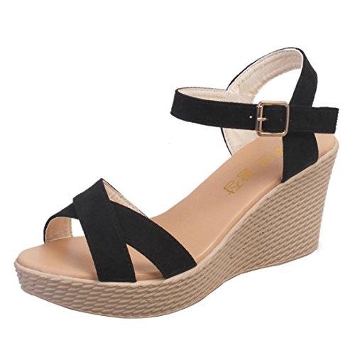 MOIKA Damen Sandals, Frauen Fisch Mund Rutschfeste Plattform Slope High Heels Sandalen Schnalle Sandalen(EU36,Schwarz