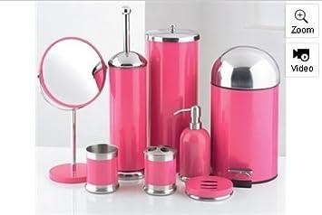 Perfect 8 Piece Bathroom Accessories Set (Pink)