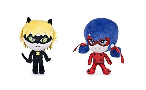 Prodigious 2x Plush Ladybug and Adrien Cat Noir 20cm The Adventures of Ladybug Superhero Dolls Adrian and Marinette Plush Superheroine Miraculous