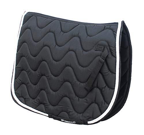 Rhinegold Gepolsterte Satteldecke, wellenförmig gesteppt, für Pferd oder Pony, verschiedene Farben und Größen, schwarz