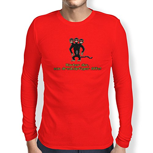 NERDO - Dreiköpfiger Affe - Herren Langarm T-Shirt Rot