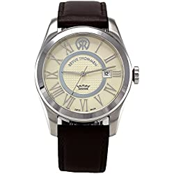 Revue Thommen Millennium - Classic Men's Automatic Watch with White Dial Analogue Display and Brown Leather Strap 103.01.01
