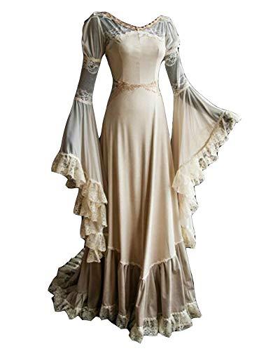 5a4205ac2d5e LaoZanA Donna Elegant Manica Lunga Abito Vestito Vittoriano Halloween  Medioevo Costume Bianca M