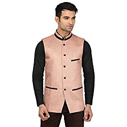 QDesigns Mens Nehru Jacket (WJ_07_Beige & Black_38)