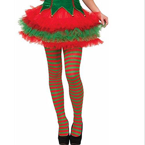 VENMO Mädchen Elf Strumpfhosen gestreift rot grün Weihnachten Kostüm Kniestrümpfe Strumpfhose Leggings Overknees Kniestrumpflook Gestreifte über Knie Überknie Strümpfe cosplay Kostüm (Grün) (Machen Elf Kostüme)