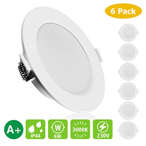 KINGSO 6 Pack LED Focos empotrados Extraplano IP44 6W 450lm Reemplace la...