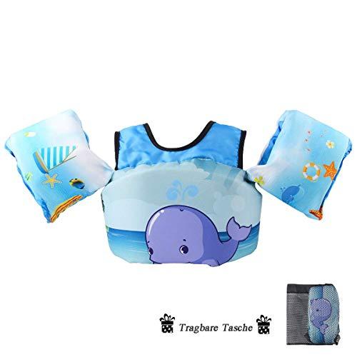 kacai Schwimmflügel Kinder Schwimm Schaum für Kinder und Kleinkinder von 2-6 Jahre 15-30kg (Wal)