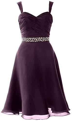 MACloth Elegant Straps Chiffon Cocktail Dress Short Wedding Party Formal Gown Prune