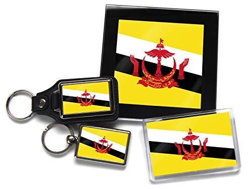 Flag of Brunei Geschenkpaket Chrom Schlüsselring Schlüsselanhänger aus Leder Kühlschrankmagnet und Glas Untersetzer mit Geschenkverpackung