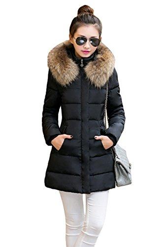 YMING Damen Steppjacke langer Mantel mit Kunstpelz Kapuze Winterjacke Steppmantel Parka warm gefüttert,Schwarz M