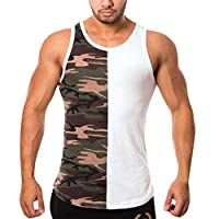 OULSEN Men Fitness Vest Fashion Camouflage Printing Color Block Patchwork O-Neck Sleeveless Sport T-shirt Bodybuilding Tight-drying Tank Top Plus Size