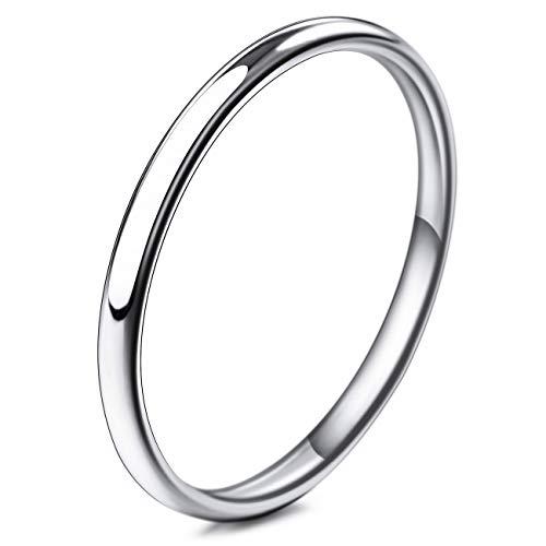 MunkiMix Breite 2mm Edelstahl Band Ring Silber Ton Hochzeit Größe 47 (15.0) Herren,Damen