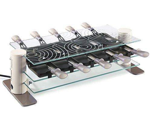 Lagrange 009904 Transparence Raclette pour 10 Personnes Verre/Crème 53,5 x 22 x 15 cm