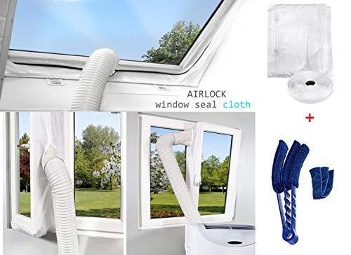 400CM Hot Air Stop passend Fensterabdichtung für mobile Klimageräte und Ablufttrockner Hot Air Stop (Fensterabdichtung +Duster Reinigungsbürste)