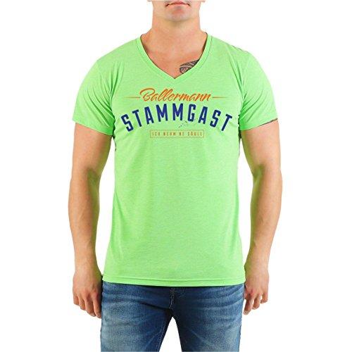 Männer und Herren T-Shirt MALLE Ballermann Stammgast BLAU (mit Rückendruck) V-Neck limettengrün