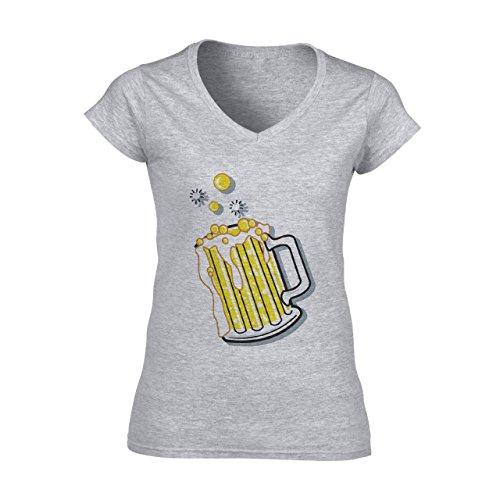Beer Drink Oktoberfest Glass Sun Moon Damen V-Neck T-Shirt Grau