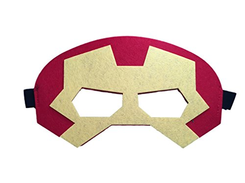 Augenmaske Maske Filzmaske für Augen - Auswahl von Superhelden Designs -Spiderman, Batman, Ninja Turtles, Captain America, Ironman, Kostüm Verkleidung (Ironman)