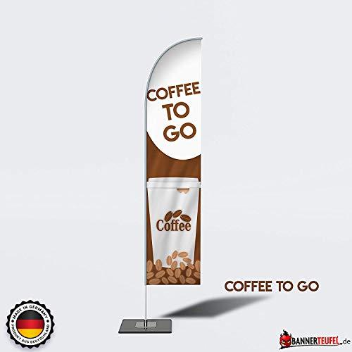Bannerteufel Beachflag Coffee to go Neueröffnung Aufsteller Außenschild Neueröffnung Werbung Messestand Fahne Kundenstopper DIY Winddurchlässig in verschiedenen Größen, (Coffee to go)