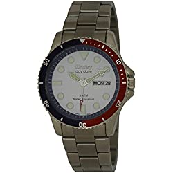Henley Gents 3ATM Tag Datum weiß Face Armbanduhr H3103.6A