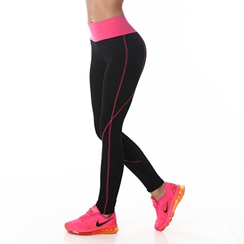 b2917c34aee159 PF-Fashion Damen Leggings Sporthose Fitness Joga Hoher Bund Leggins Tapered  Body Slim Hose Karotte