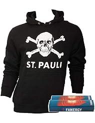 7c27220e1c FC St. Pauli Herren Pullover Hoodie Kapuzenpullover Fanartikel Totenkopf  Schwarz + 2X Fanergy Traubenzucker
