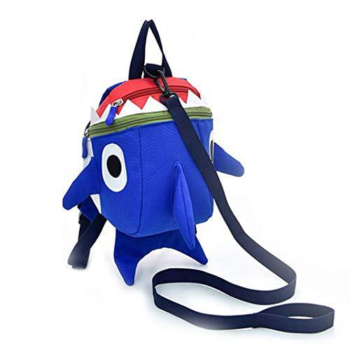 Kinderschultasche,(2019 Neueste) Kinder Süß Mini Karikatur Hai-Rucksack | Anti-verloren | Kid's Cute Shark Sicherheitsrucksack, Blau
