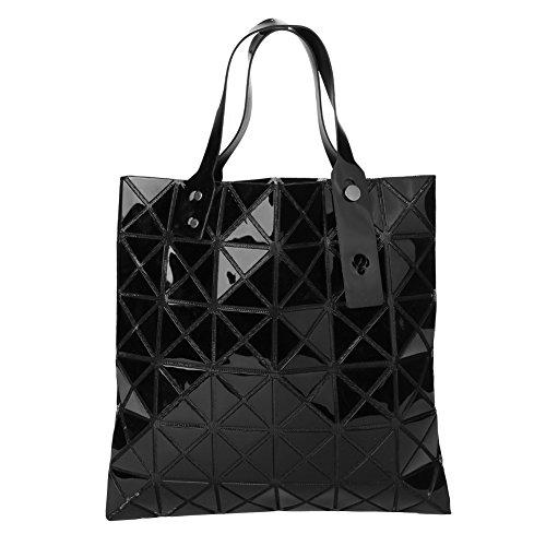 Romacci Damen Schulter Tasche Geometrische Plaid Faltbare justierbarer Handgriff beiläufige Einkaufstasche Schwarz