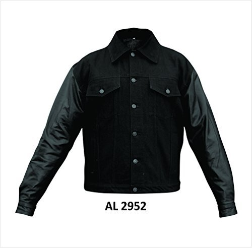 mens-black-100-cotton-denim-jacket-w-lined-leather-sleeves-al-2952-xl-by-allstate-leather
