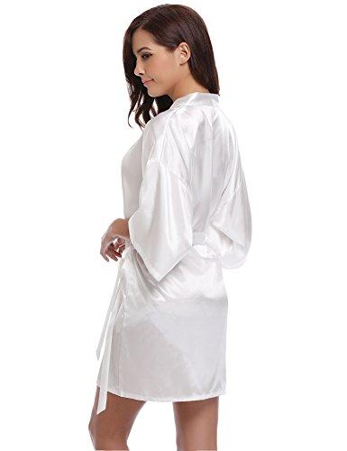 Aibrou Pigiama Kimono,Elegante Vestaglia Raso Corta, Camice da Notte con Cintura bianca