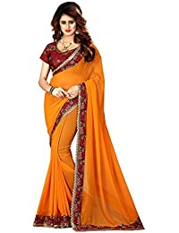 Greenvilla Designs Yellow Georgette Wedding Saree With Blouse