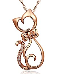Chaomingzhen 925 Sterling Silber Rose Vergoldet Zirkonia Charm Katze Anhänger Halsketten Damen 45cm Kette