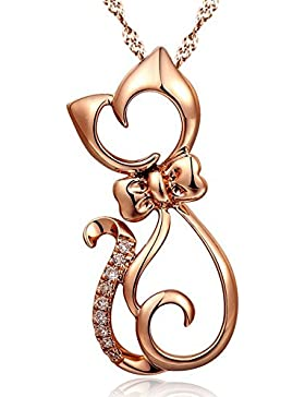 Chaomingzhen 925 Sterling Silber Roségold Plated Zirkonia Charm Katze Anhänger Halsketten Damen 45cm Kette