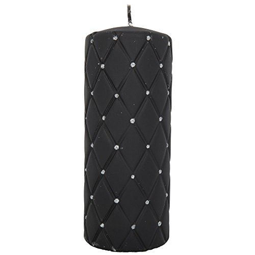 tradingbay24 Elegance-Stumpenkerze Diamant mit Glitzerelementen Handarbeit Ø 7 cm Handmade Deko-Kerze Design-Kerze Elegance-Kerze (18 cm, schwarz (matt))