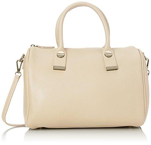 CTM Handtasche der Frau, Bowlingtasche in italienischem Leder Made in Italy 30x22x14 Cm Beige