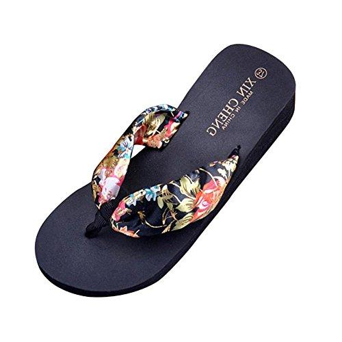 Sandales Femme Bohême Floral Satin Couleur Compensé, QinMM Strings Pantoufles Plage Tongs Plate-forme Noir