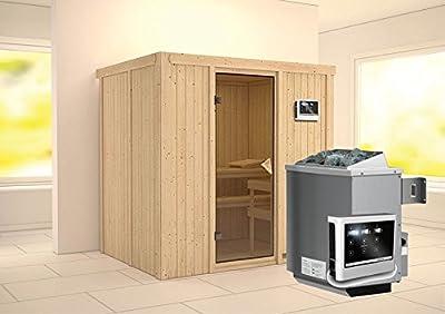Bodin - Karibu Sauna inkl. 9-kW-Ofen - ohne Dachkranz - von Woodfeeling GmbH bei Du und dein Garten