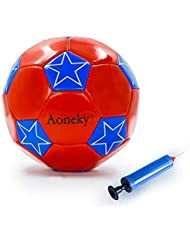 Aoneky Mini Training Football Ball Soccer Toys with Ball Pump for Kids Dogs Size 2