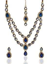 Dancing Girl Bridal Dulhan Kundans Blue Metal Alloy Jewellery Sets With Necklace Earring And Maang Tika For Women