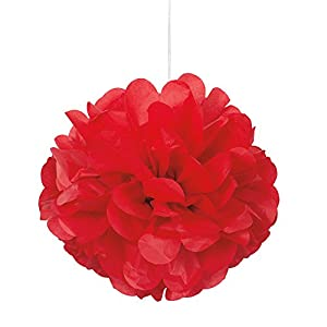 Unique Party Paquete de 3 Pompones pequeños de Papel de Seda, Color Rojo, 23 cm (64215)