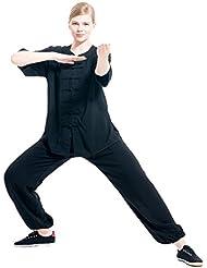 Icnbuys Tenue de tai chi légère à manches courtes en coton pour femme