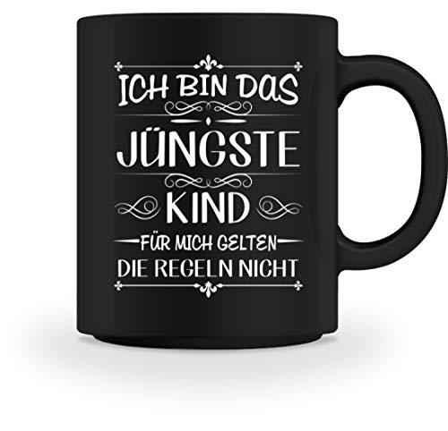 Shirtee ICH BIN DAS JÜNGSTE KIND FÜR MICH GELTEN DIE REGELN NICHT - Tasse -M-Schwarz - Kind Jüngstes
