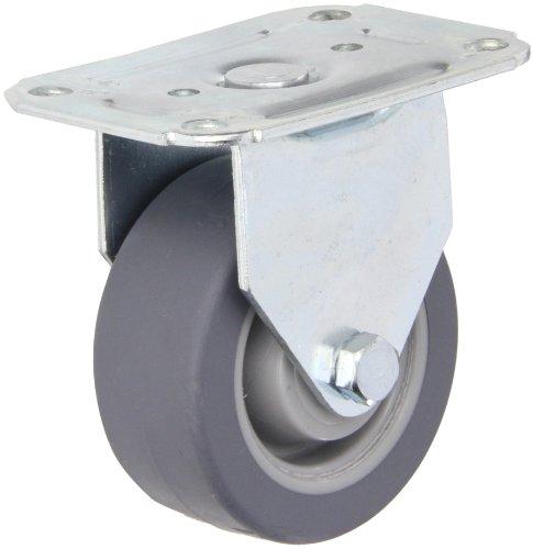 E.R. Wagner Plate Caster, Rigid, TPR Rubber on Polyolefin Wheel